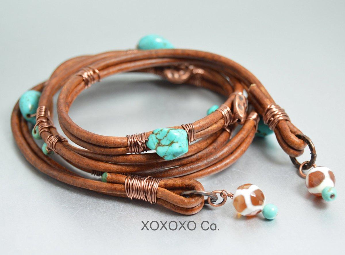 Brown Leather Wrap Bracelet Bohemian Turquoise Beaded Bracelet Hippie Jewelry Dzi Beads  #handmade #giftsforher #style #Etsy #jewelryblogger #shopsmall #christmasgifts #handmadejewelry #fashion