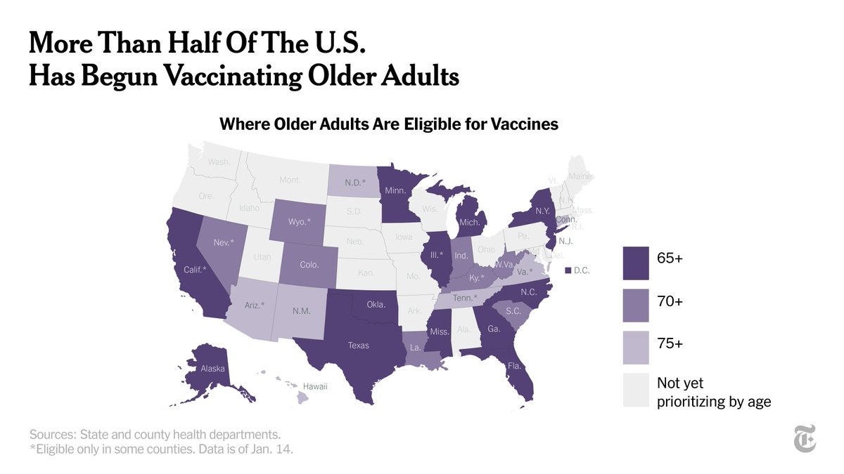 """These 28 states are now vaccinating older people for the coronavirus.  But as millions gain access, the evolving system has caused a wave of confusion and chaos. """"It's almost like a gold rush,"""" Gov. Eric Holcomb of Indiana said. """"But it's a vaccine rush."""""""