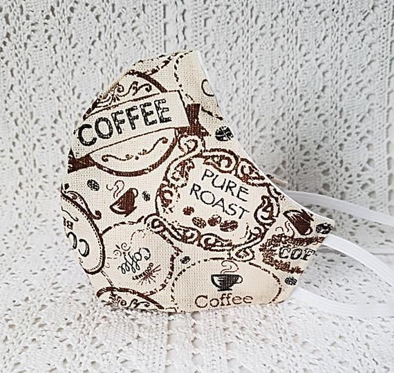 #Coffee Lover Face Mask Beans Cup Cotton #Facemask Adjustable Fitted Mask Handmade USA  #etsyshop #etsyhandmade #shopsmall #facemasks #facemasksforsale #coffeelover #coffeeaddict #coffeeshop #barista #ValentinesDay  #birthdaygift #giftforher #sale