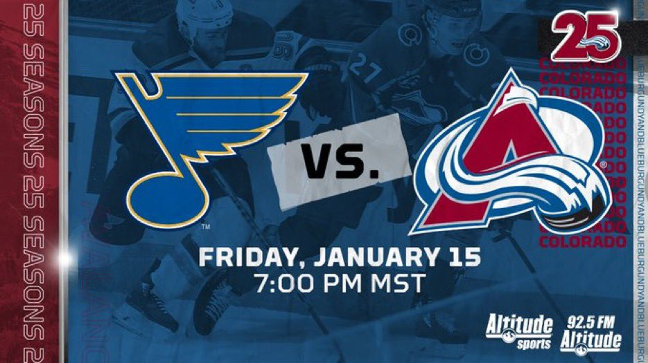 TONIGHT your #Avs are seeking some revenge from game one as the top line is reunited!  @Avalanche vs @StLouisBlues radio schedule:  NOW - Berto's Pregame 7pm - Puckdrop with @ConorMcGahey 10pm - Between the Pipes with @RajOnRadio & @MarkAMark  #GoAvsGo #stlblues