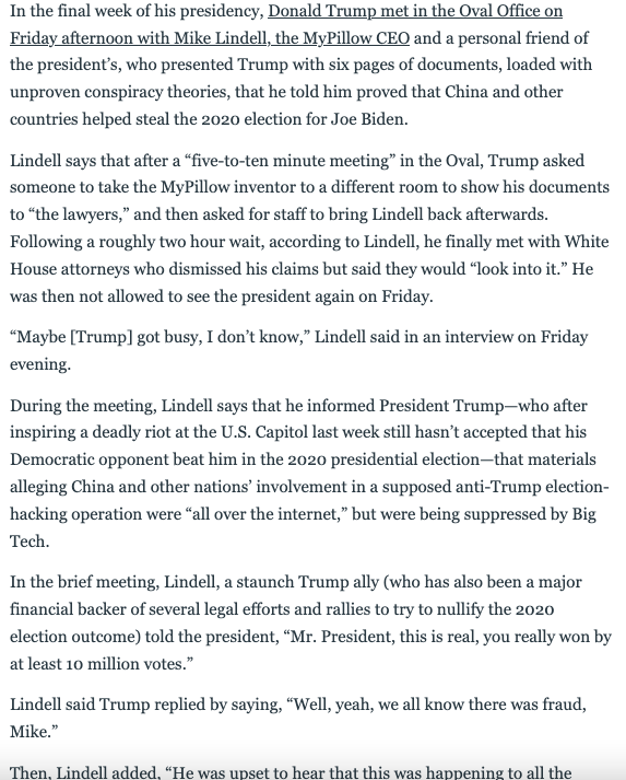 New tonight from me & @willsommer: MyPillow CEO Mike Lindell gave me a pretty graphic readout of his Oval meeting with Trump today. In their conversation, they focused on the conspiracy theory that China stole the election for Biden: