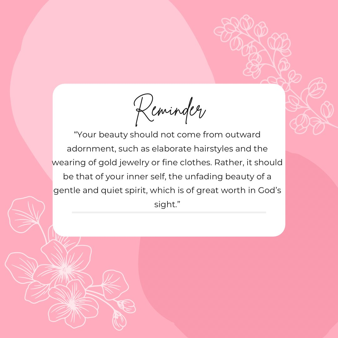 A Daily Reminder About Our Inner Beauty, This Scripture Comes From 1 Peter 3:3-4 (NIV). Feel Free To Share This With Others!. #innerbeauty #faith #beauty #godlywoman #Cosmetics #womenempowerment #womensupportingwomen #weareallqueens