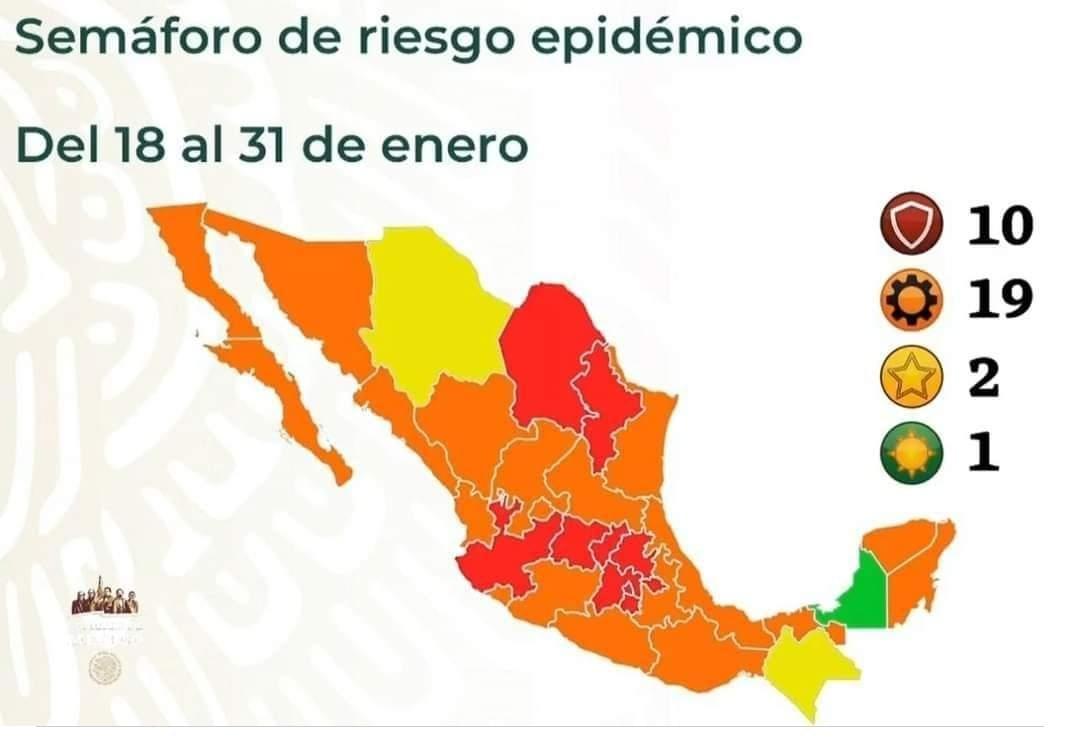 #AlMomento  La #SecretariadeSalud Federal informo que #Chiapas regresa al semaforo de riesgo epidemiologico AMARILLO luego de la actualizacion de casos #covid19  #SemaforoCOVID19 Amarillo será del 18 al 31 de enero  #COVID19 #viernesdeYaValio #ViernesDeRiesgo