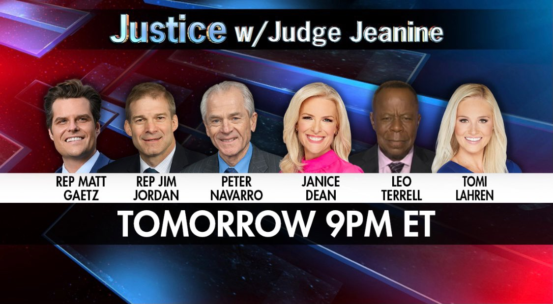 TOMORROW AT 9PM ET! @RepMattGaetz @Jim_Jordan @RealPNavarro @JaniceDean @TheLeoTerrell and @TomiLahren are all joining me. It's a show you won't want to miss. See you then! https://t.co/iRkynmrXTb
