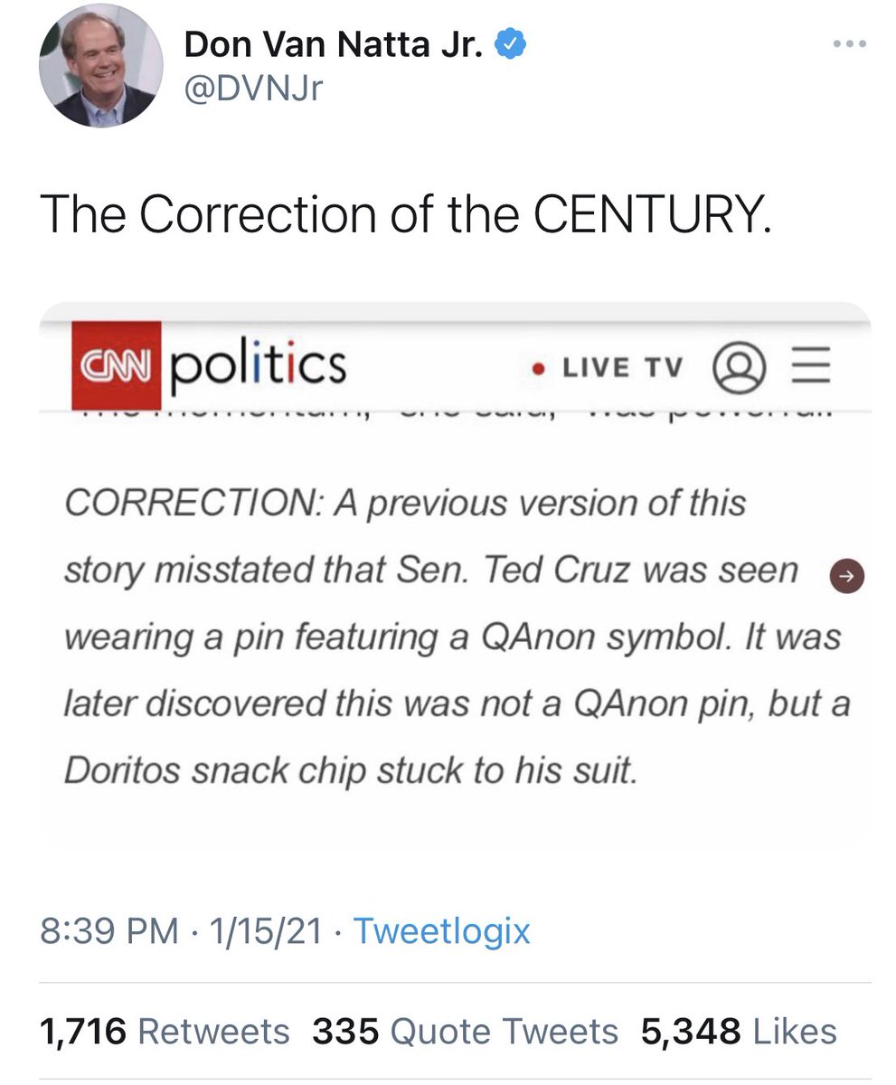 Replying to @ddale8: Friends, I regret to inform you that this is not real. There is no CNN Doritos correction.