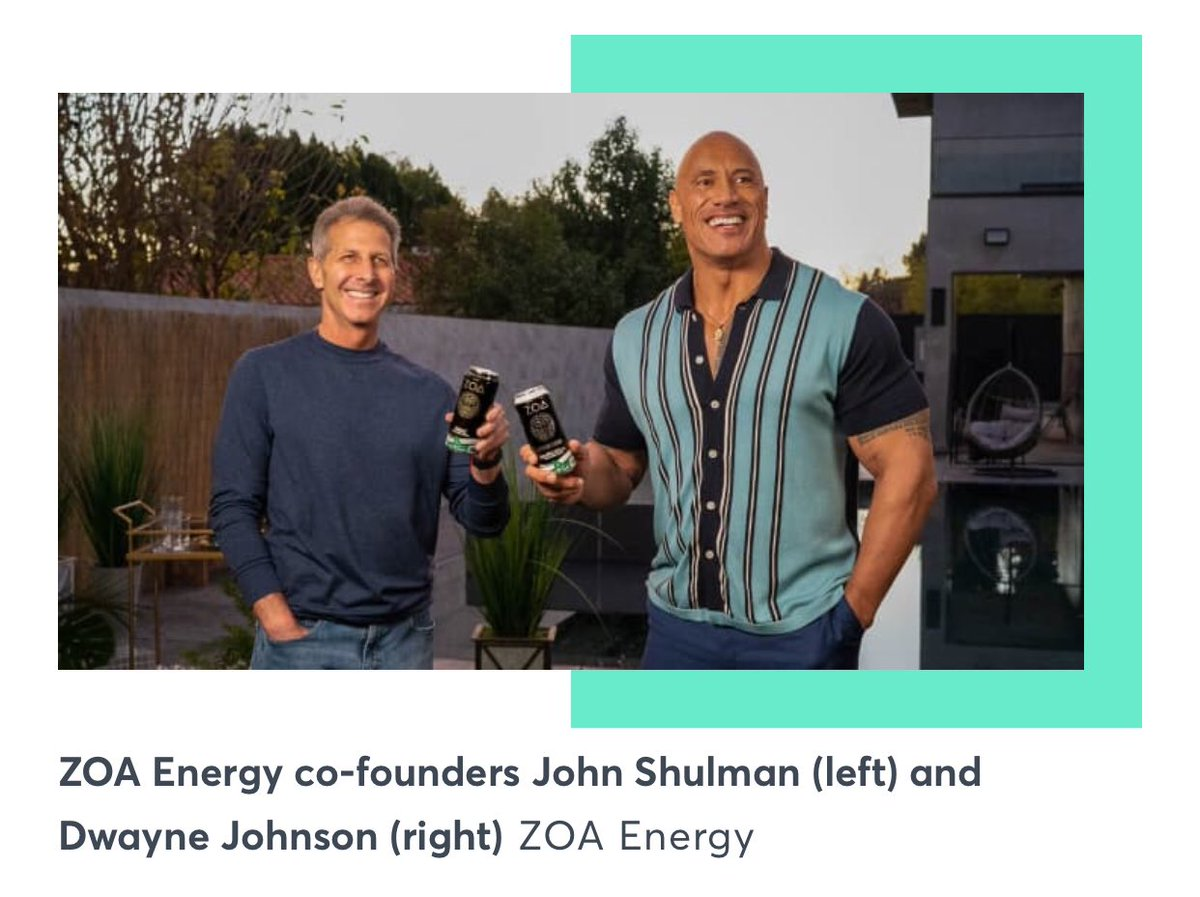 """#Dwayne """"The #Rock"""" #Johnson  launching two companies:   Announced the launch of his new energy drink company, #ZOA #Energy.  Johnson launched his tequila brand #Teremana in March, which has sold more than 300,000 9-liter cases. Credit: CNBC"""