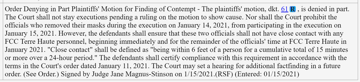 Update: The judge presiding over the dispute about whether an executioner was in contempt for not wearing a #mask for part of last night's execution, just said she won't stop #DustinHiggs' execution on that basis. But she orders that executioners comply with #COVID precautions.