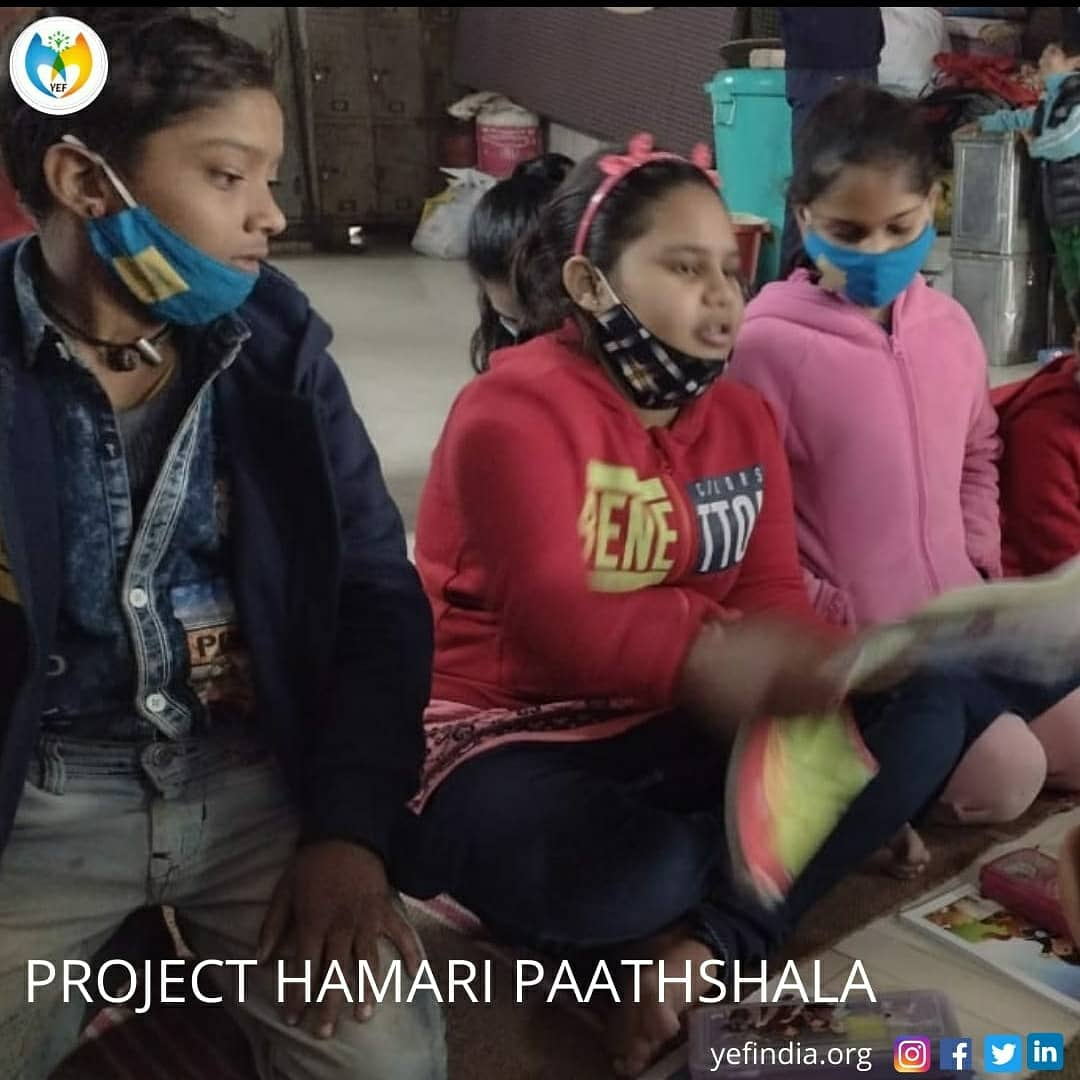 """""""Everything diminishes when it is used except knowledge"""" So teach beneficial knowledge. Under project PATHSHALA  Our ground volunteers taught children at CP Shelter Home, New Delhi.  #yef_India #YEF #bookdistrubution #educate #empower #ngo #charity #nonprofit #education #covid"""