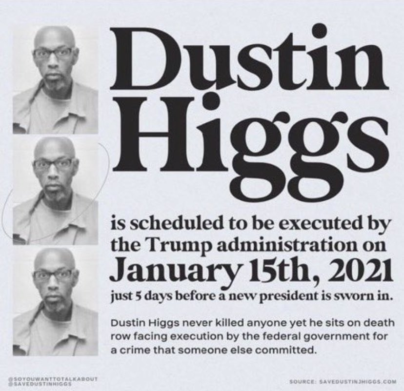 dusitn higgs' execution is TONIGHT and this is not a joke. do whatever you can to save his life from a crime that he didnt even commit. #SaveDustinHiggs