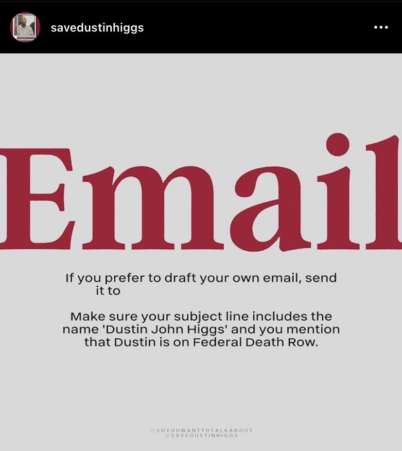 i'm seeing a lot of people saying petitions are being denied and phones are being hung up. keep trying with those but that also means we really should push emails. use this link and send an automated email:  or read below. #saveDustinHiggs #DustinHiggs