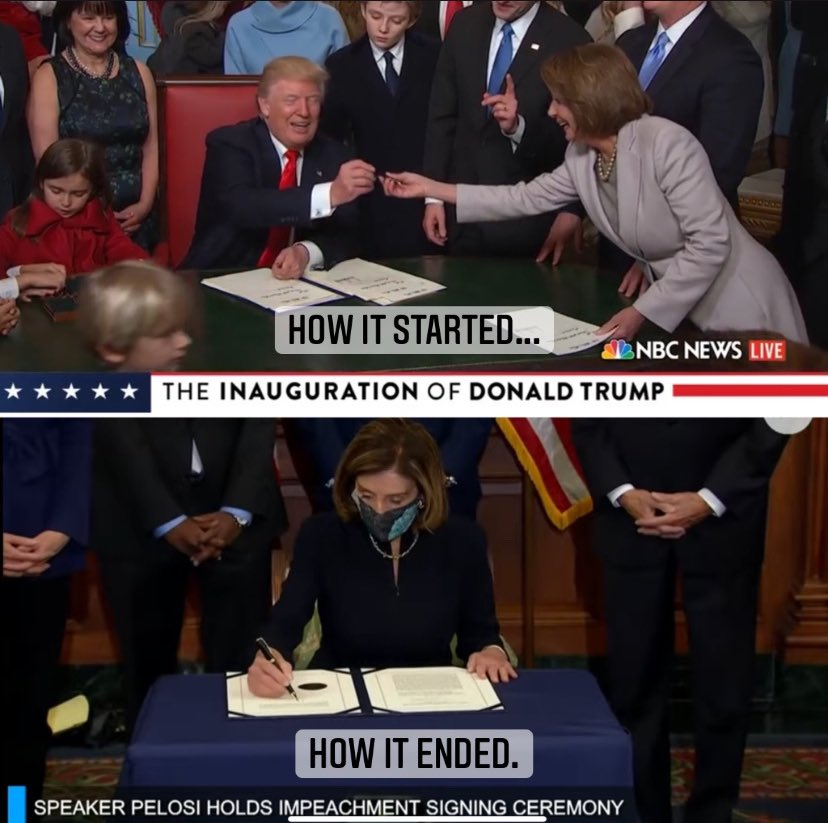 Wouldn't it be funny if @SpeakerPelosi signed the article of impeachment with the same pen Trump gave her during his first signing ceremony in 2017? #impeachedagain #DonaldJTrump #2020Election #ImpeachmentDay #funny #Memes