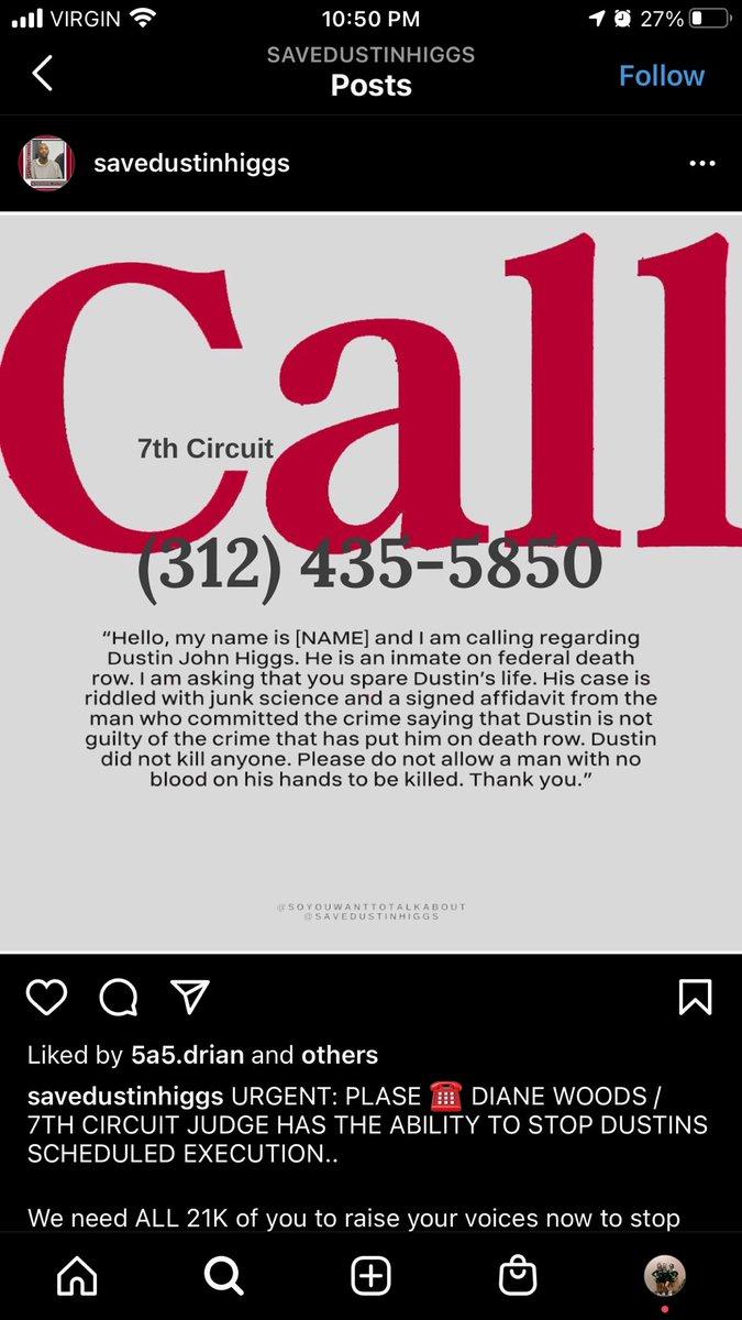 🚨URGENT🚨 PLEASE CALL THIS NUMBER #SaveDustinHiggs