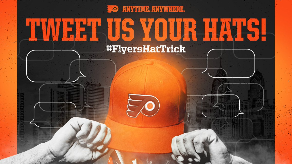 Replying to @NHLFlyers: THROW YOUR HATS AT HOME!   Tweet your toss using #FlyersHatTrick!   #AnytimeAnywhere | #PITvsPHI