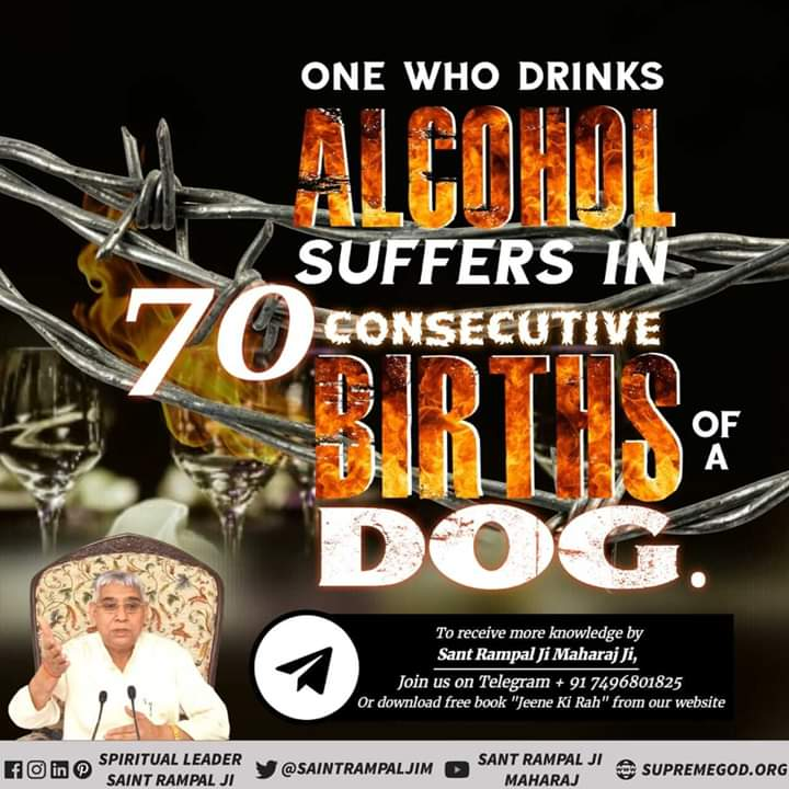 #GodMorningSaturday #SaturdayMotivation Alcohol is a dangerous evil that destroys the inhabited happy family, and destroys both wealth and power. @SaintRampalJiM