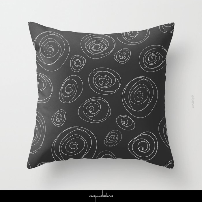 Circle Swirls Charcoal & White | Pattern by Menega Sabidussi @society6 #throwpillow #neutral #neutraldecor #interiorstyle #circles #shapes #drawing #lines #society6 #blackandwhite #darkgray