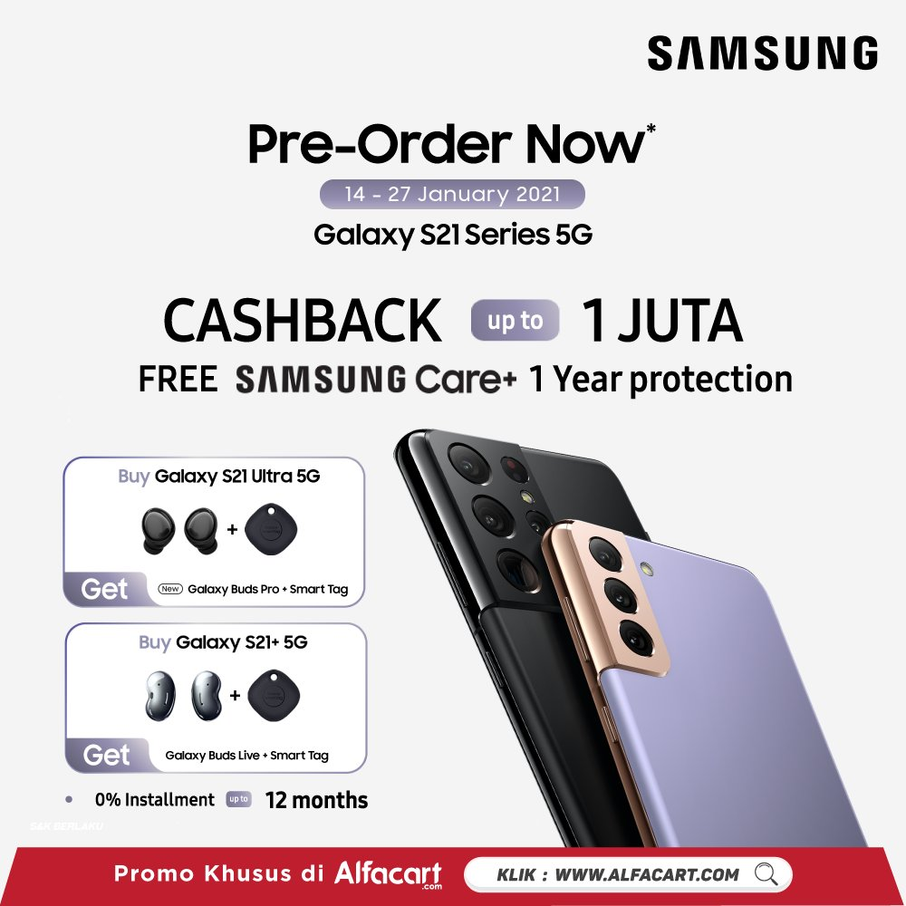 Introducing, #GalaxyS21 Series 5G, made to make your everyday story became EPIC!  Get FREE #GalaxyBudsPro #GalaxyBudsLive #GalaxSmartTag & cashback up to 1 mio only at !  Pre - Order now >>