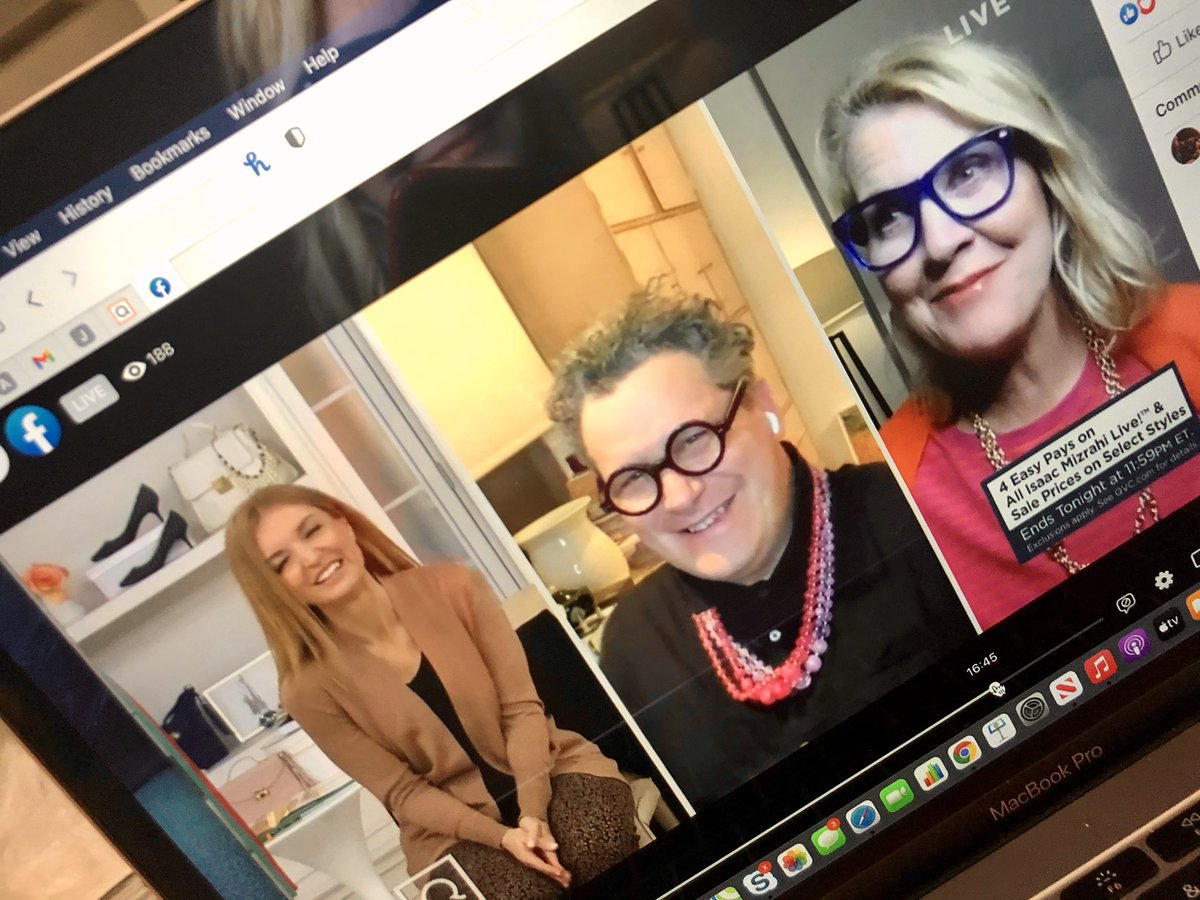 SO much fun with @isaacmizrahiny + @jennifercoffeyqvc 😂🥂 Hoping you're with us tonight until 11pm on @qvc 💋#isaacmizrahi #fashion #style