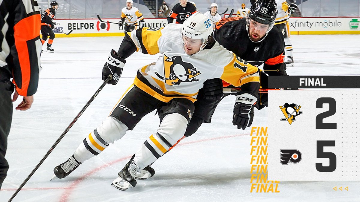 The Penguins fall to the Flyers on the road, 5-2.