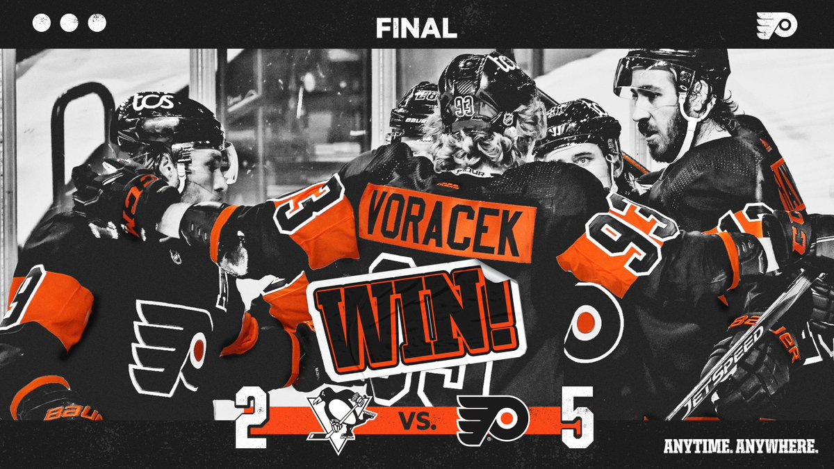 🔶 FLYERS WIN! 🔶  Pittsburgh gets sent packing point-less.  #AnytimeAnywhere | #PITvsPHI