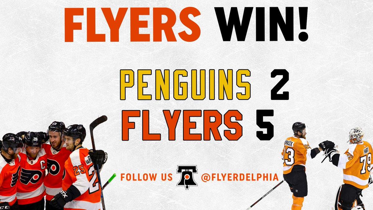 Final: #Flyers defeat the #Penguins again, 5-2. #FlyersTalk