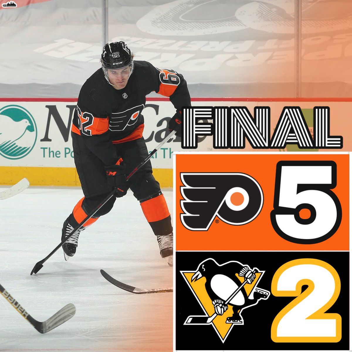 ORANGE AND THE BLACK  . #Flyers advance to 2-0-0 as they beat the #Penguins again 5-2! #AnytimeAnywhere