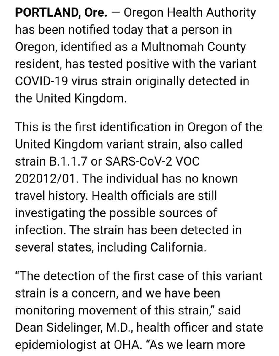 The U.K. coronavirus variant has now been found in Oregon