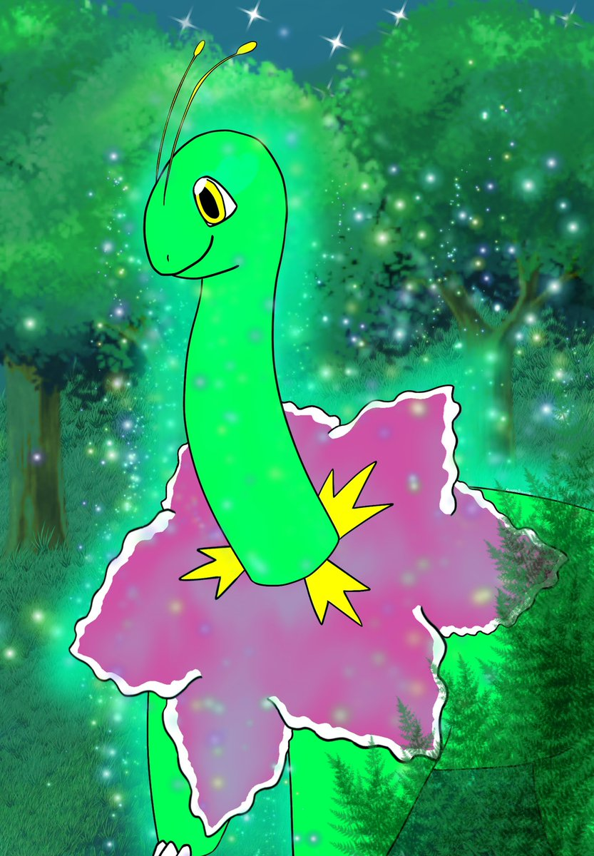 Who's up for a glowing Meganium?  #Pokemon #PokemonSnap #pokemonart #fanart #digitalart #illustration #ibisPaintX