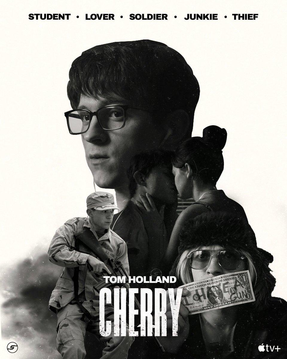 CHERRY poster.  #CherryMovie #russobrothers #TomHolland #AppleTVPlus  @TomHolland1996 @Russo_Brothers @AppleTV