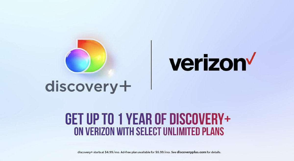 Don't miss the good news! Get up to 1 year of #discoveryplus on @Verizon with select Unlimited plans. Then, $6.99/mo after. Terms apply. Start streaming now: