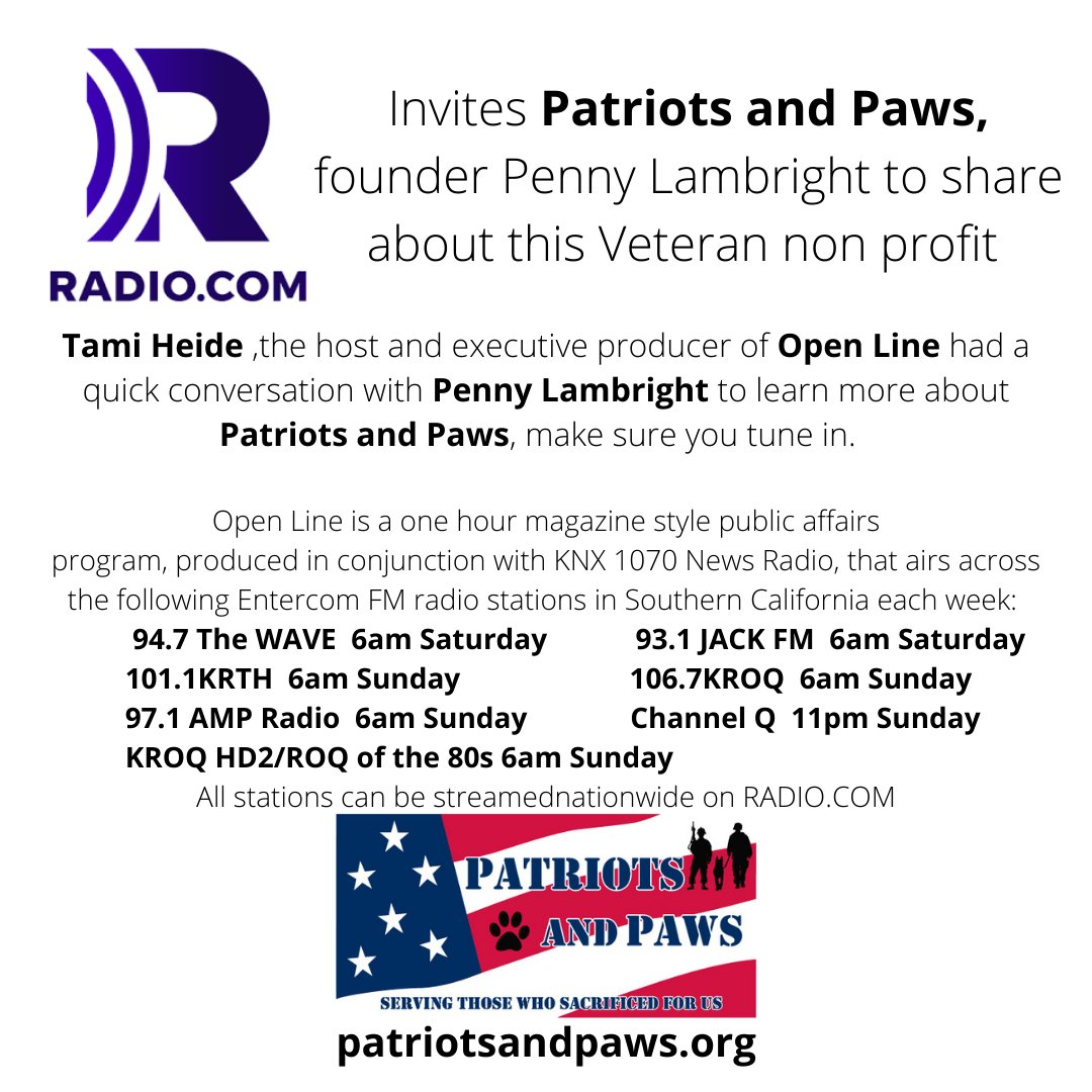 Tune in tomorrow  & Sunday and hear #Patriotsandpaws founder talk about this amazing #nonprofit serving our #Veterans #ActiveDuty #Reservists through @947thewave  K-EARTH 101 97.1 AMP The World Famous KROQ  93.1 JACK FM  ChannelQ  @tamiheide23  #charity #philanthopy #Veteran