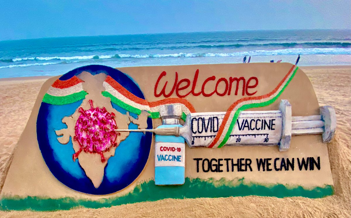 """#NewHope & #NewBeginning.  World's largest #vaccination drive will start today in India . Welcome #CovidVaccine SandArt at Puri beach by @sudarsansand with message """"Together we can win"""".  @WHO @narendramodi @MoHFW_INDIA @SerumInstIndia @BharatBiotech"""
