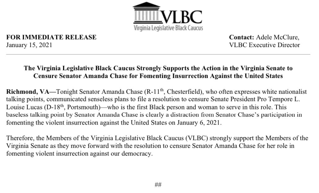 This baseless talking point by Senator Amanda Chase is clearly a distraction from Senator Chase's participation in fomenting theviolent insurrection against the United Stateson January 6, 2021.