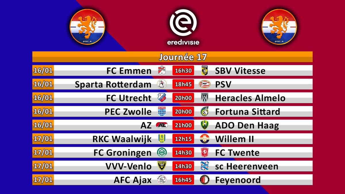 [Eredivisie]  📅 Programme de la 17e journée :   On suivra le déplacement du PSV sur le terrain du Sparta.  🔥 Avant un dimanche de folie :   On commencera avec le Midden-Brabantse Derby entre Waalwijk et Willem II.  Et on finira sur le Klassieker Ajax-Feyenoord.  #FootNL https://t.co/BI7GXm1aGX