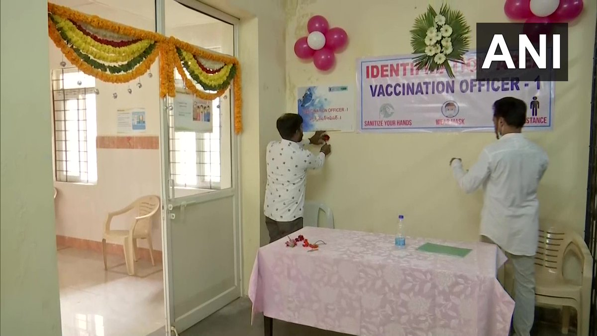 Telangana: Area Hospital, Nampally in Hyderabad has been decorated with flowers and balloons ahead of the start of the first phase of nation-wide COVID-19 vaccination drive. #vaccination #Coronavirus