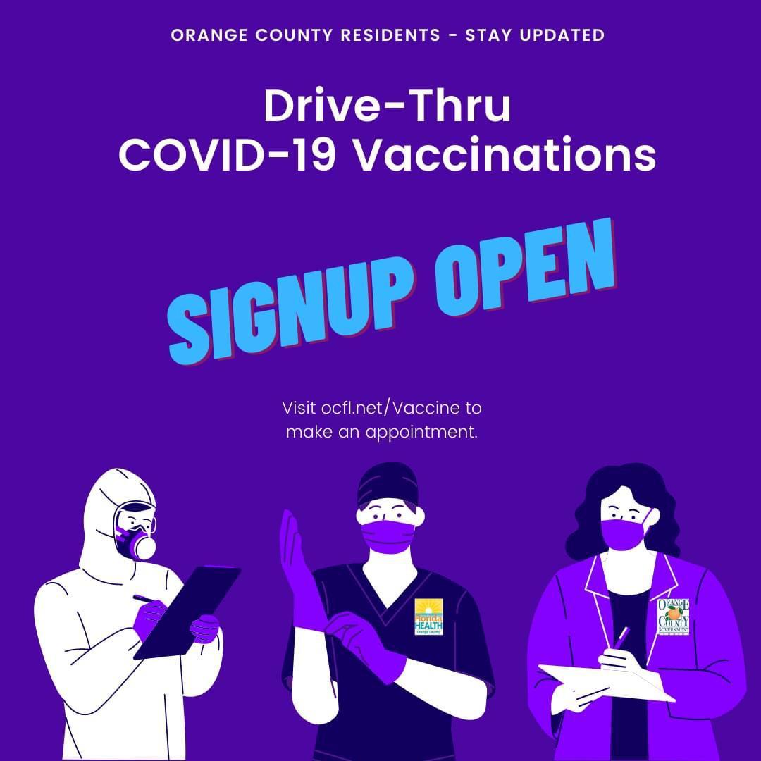 @OCFLMayor y @OrangeCoFL anuncian citas disponibles para Vacunas #COVID19  Acude el Domingo 17 de 10 a 13hrs a @ConsulMexOrl a registrar a tus padres o abuelos, sin importar nacionalidad ni situación migratoria.  Requisitos: • 65 años o más • ID, Matrícula Consular o Pasaporte.