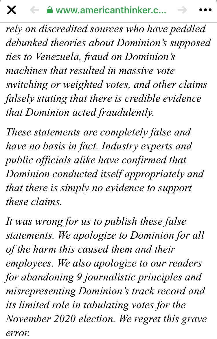 The extremely conservative site #AmericanThinker apologizes to #DominionVotingSystems for publicly accusing them of #voterfraud based on #TrumpLies #impeachment #TrumpTreason