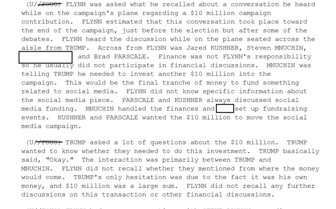 Michael Flynn was asked by Mueller's team to recount a conversation he heard on the Trump campaign's plane about a $10 million campaign contribution