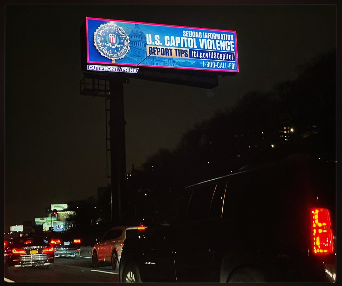 FBI billboards up all over NYC asking for tips on #USCapitol siege. #SEESOMETHINGSAYSOMETHING #lawandorder