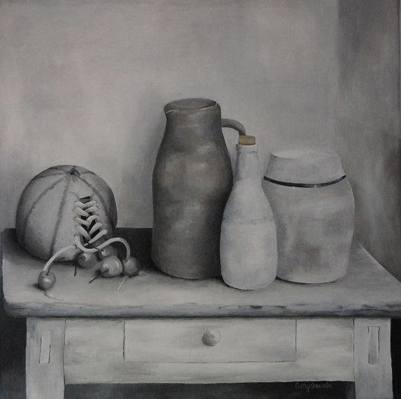 Surreal Melon Still Life  Vintage Look  #surrealism painting art #blackandwhite