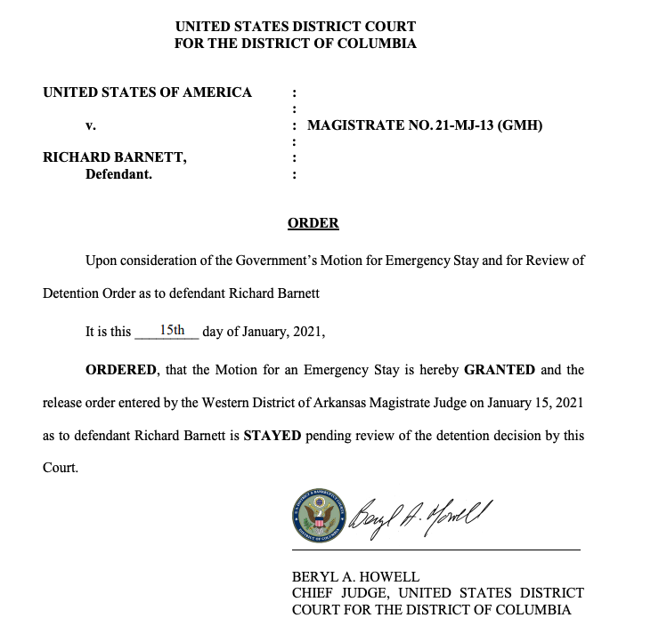 JUST IN: The chief Judge of the federal district court in DC has blocked the imminent release of Richard BARNETT, the rioter who sat in Nancy Pelosi's chair.