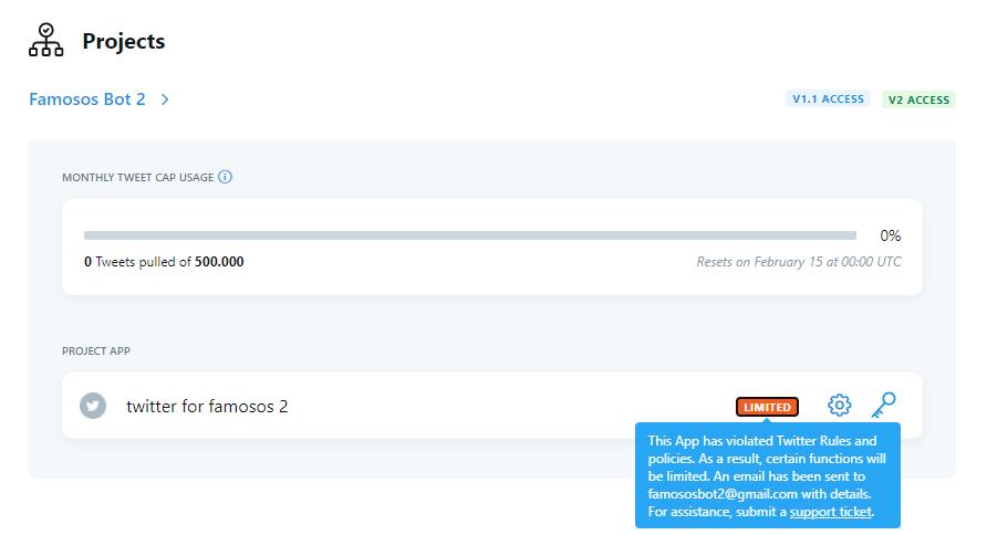 Secundária do @famosos_bot ja tomou restrição, n tem mto oq eu fazer, desde que o twitter trocou a API pra v2 ta dificil fazer bot  O @famosos_bot vai continuar funcionando normalmente mas, se ele parar, é pq atingiu o limite diário de posts https://t.co/SUMpuluVgs