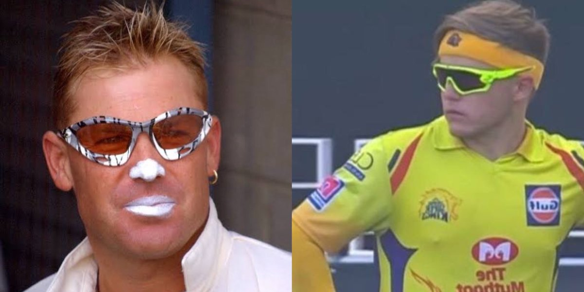 Some Shades competition 🔥😂  Shane Warne or Sam Curran? Which one did you like? #AUSvIND #INDvsAUS https://t.co/UCnxusww8b