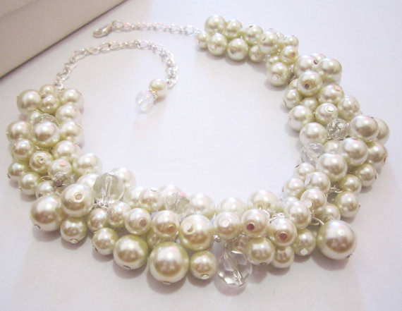 Chunky Pearl and Crystal  via @EtsySocial #shoplocal  #handmade  #pearlnecklace #chunkynecklace