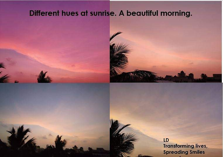 The various hues of colours at dawn. Nature is so beautiful. Every sunrise is an invitation for us to arise and brighten someone's day.Have a fantastic weekend. #nature  #sunrise   #weekendvibes  #transforminglives  #spreadingsmiles  #spreadinghappiness  #beinghappy  #gratitude🙏