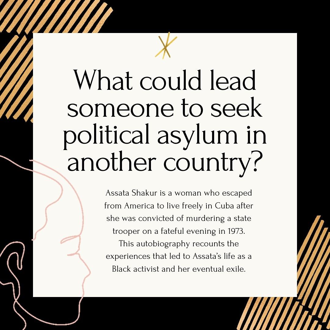 Assata: An Autobiography  Join us in reading this month's WJEA Book Club pick to find out Assata's story!   #WJEA #WJEAgrad #WJEAIRBC #WJEABookClub #BookClub #ReadWithUs #Reading #blackwomen #blackwomxn #womxn #politicalasylum https://t.co/Q3qD4w8rD4