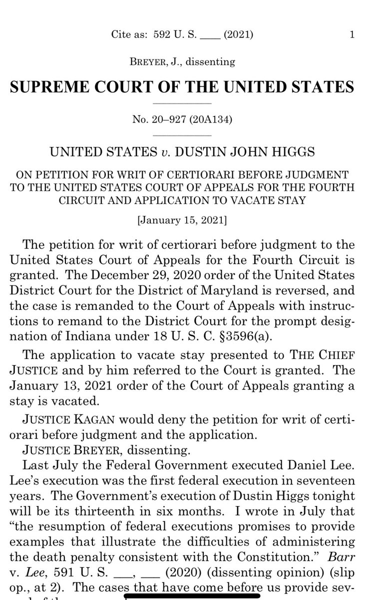 BREAKING: For the fourth time this week, the Supreme Court has voted 6-3 to clear the way for a last-minute federal execution before Trump leaves office. Justices Breyer and Sotomayor write dissents. Justice Kagan also notes her dissent.