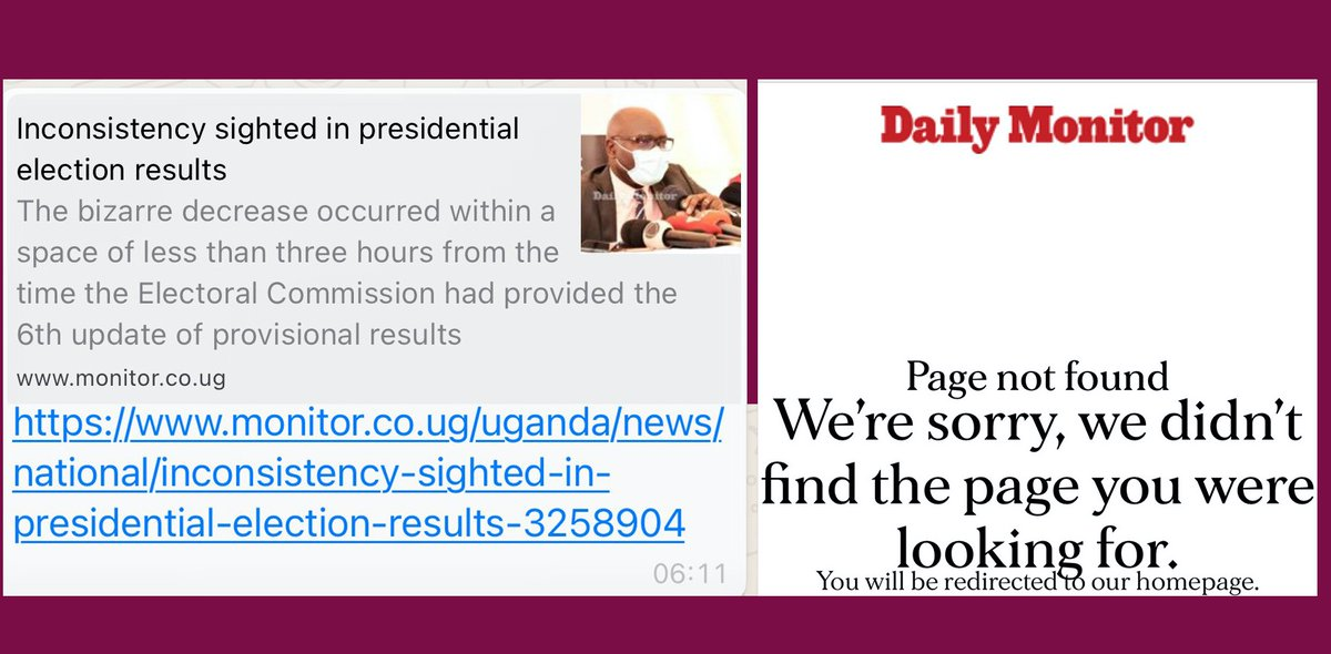 This is one of the reasons Uganda shuttered the internet & social media. @DailyMonitor story on count inconsistencies earlier in the morning (L) and  2 hours later (R).  The Electoral Commission has always had a maths problem😉 #UgandaDecides2021 DAY 5 of #WhileUgWasBlockaded