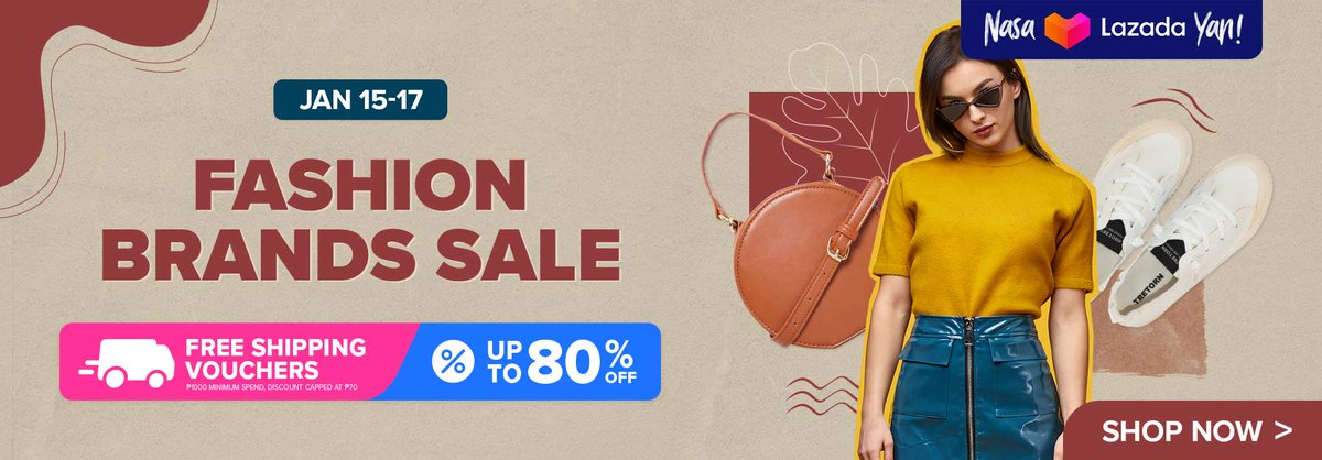 Lazada (PH) Fashion Brands Sale: Up to 80% OFF! 🤎🤍   Page Link:    Campaign Description: Free Shipping Vouchers.  Campaign Period: Until 17 Jan 2021  #LazadaPH #LazadaFinds #Lazada