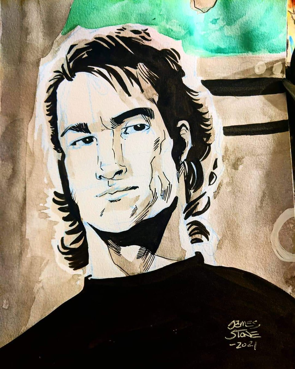 You can own this #art & support the fight against #cancer. Head to  for details @truenorth #worldcancerday #iamandiwill #pancreaticcancer #dearlydeparted #patrickswayze #actor #art #roadhouse #Watercolor #draw #prompt #charity #donate #claimsale #artsale