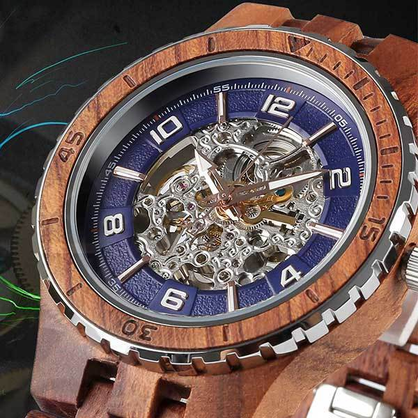 Wilds Men's Premium Self-Winding Transparent Body Kosso Wood Watches selling at $145.00 🤯 by Wilds Wood ⏩  🚀 Selling out fast! 🚀#TBT #weekendvibes #Deals